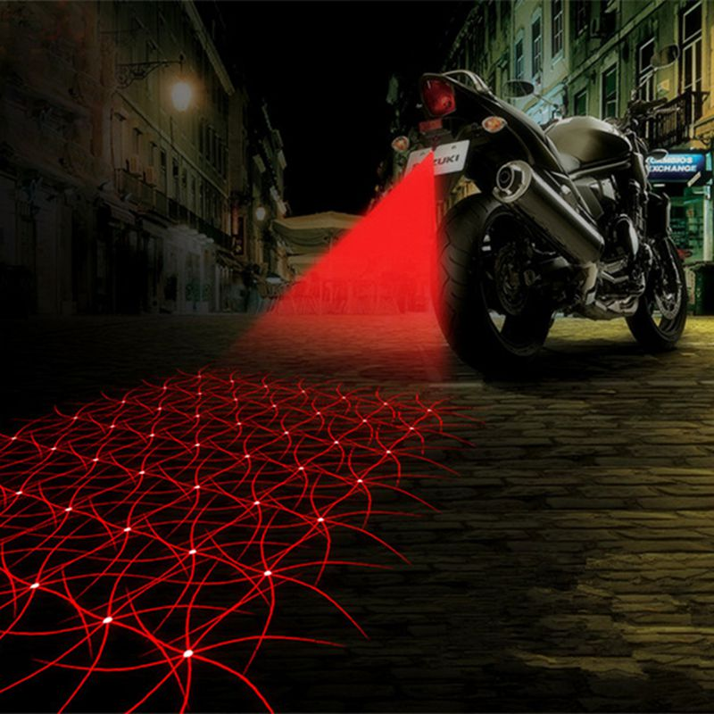 Motorcycle Anti-collision LED Laser Fog Lights Taillight Anti-fog Parking Stop Brake Lamps Warning Tail Light Motor Styling
