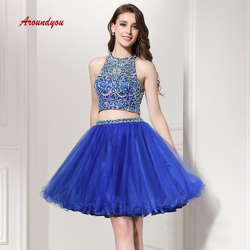 Sexy Royal Blue Short   Cocktail     Dresses   coktail Two 2 Piece Luxury Graduation Party Homecoming   Dresses