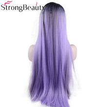 Strongbeauty Long Straight Lace Front Wigs Synthetic Ombre Black to Violet/Purple Synthetic Wig