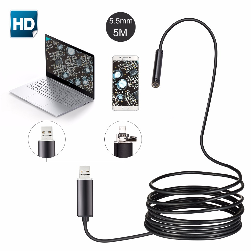 5M Cable 5.5mm Lens USB Endoscope Camera Waterproof Wire Snake Tube Inspection Borescope For OTG Compatible Android Phones gakaki 7mm lens usb endoscope borescope android camera 2m waterproof inspection snake tube for android phone borescope camera