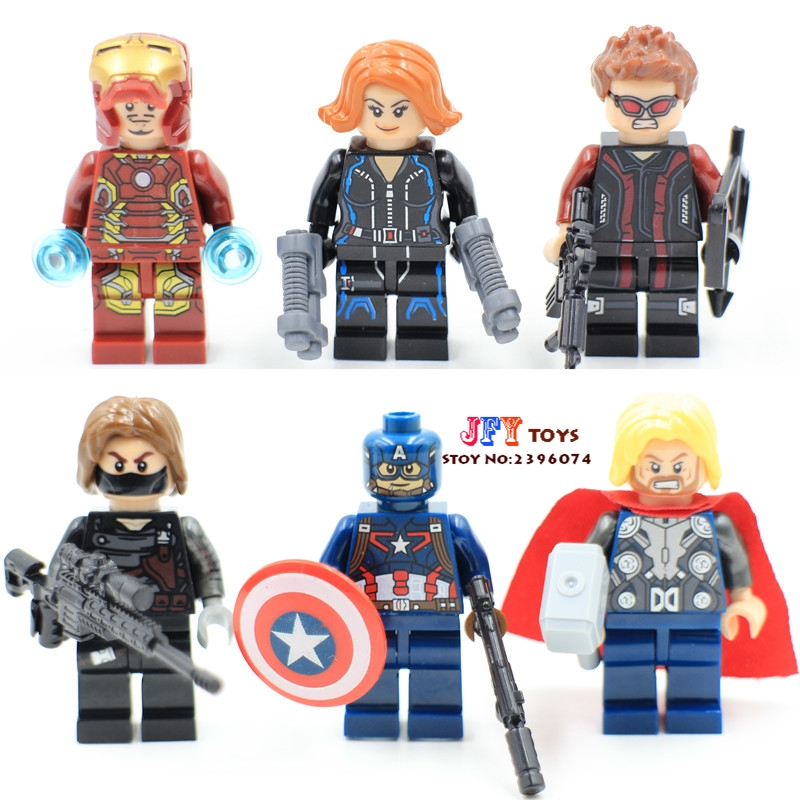 6pcs star wars super hero marvel Avengers Captain America Winter Soldier building blocks model bricks toys for children juguetes