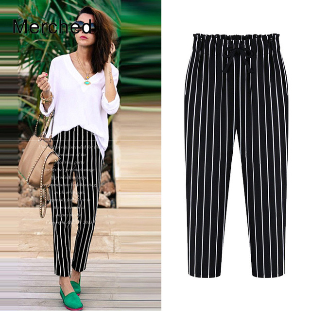 d41b089aece Merched Loose Black Striped Capris Pants Women Casual Chiffon Harem Pants  Trousers Tie High Waist Pockets Pant 4XL 5XL Plus Size