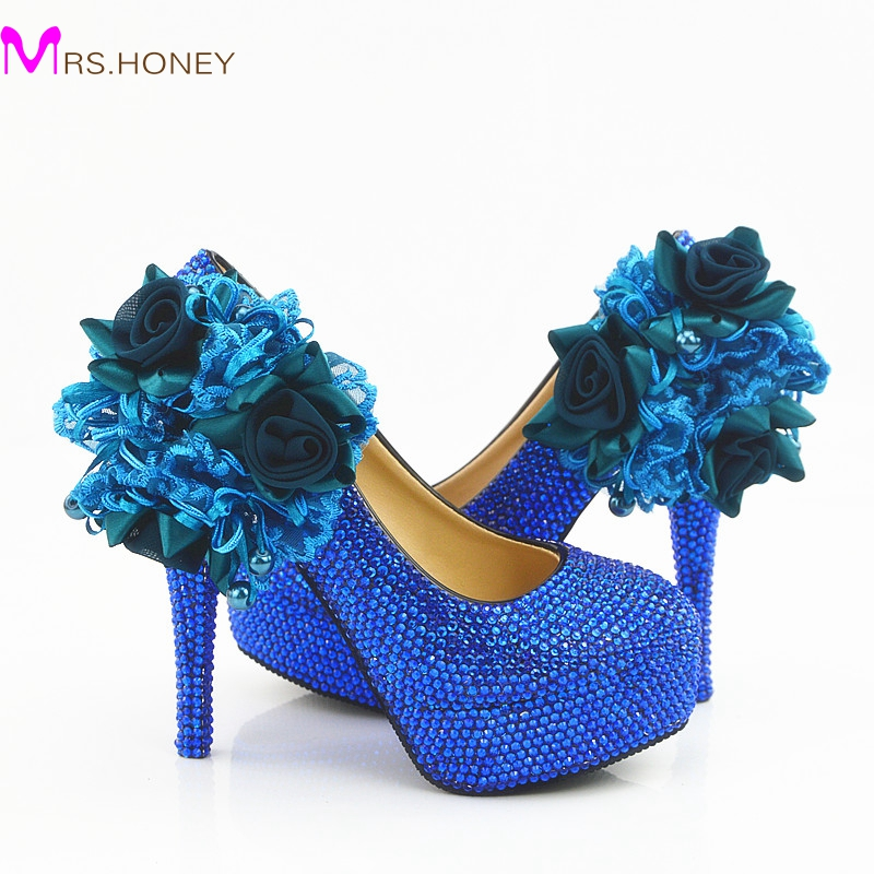 Wedding Dress Shoes Royal Blue Color Rhinestone Party Prom High Heel Shoes Handmade Lady Anniversary Party Pumps Plus Size beautiful fashion blue wedding shoes for woman rhinestone bridal dress shoes lady high heel luxurious party prom shoes