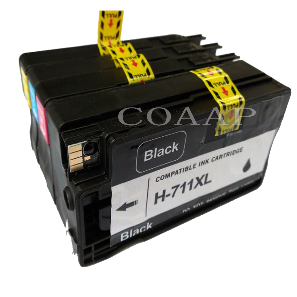 4 pièces Remplacements Cartouche D'encre CZ133A CZ130A CZ131A CZ132A Compatibles HP711 Designjet T 120/T 520 Imprimante pour HP 711XL