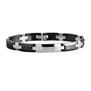 Hi-tech Black Ceramic Polished Shiny Beveled Link Bracelets /TUBR0029L
