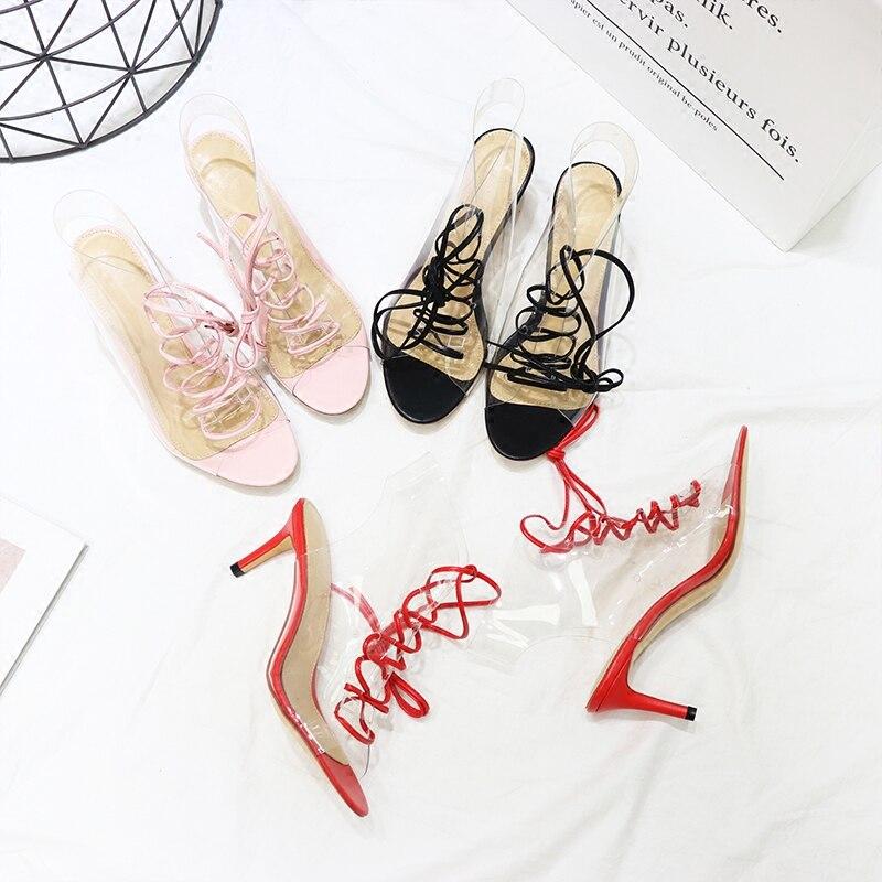 Chaussures Hauts Stylesowner Sexy rose Toe Peep À Bottes Pompes Noir Liée D'été Creux Avant Talons rouge Croix Transparent Lady Pvc Stiletto Sandales CCxZqwnz7B