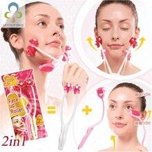 คุณภาพสูง Face Up Roller Massage Slimming ลบคางคอนวดความงาม 2 in 1 เครื่องมือใหม่สีชมพูน่ารัก