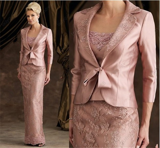 2015 Elegent Sheath Floor-Length Pink Lace Stain Long Sleeve Mother Of The Bride Dresses With Jacket Mother Of The Groom Dresses