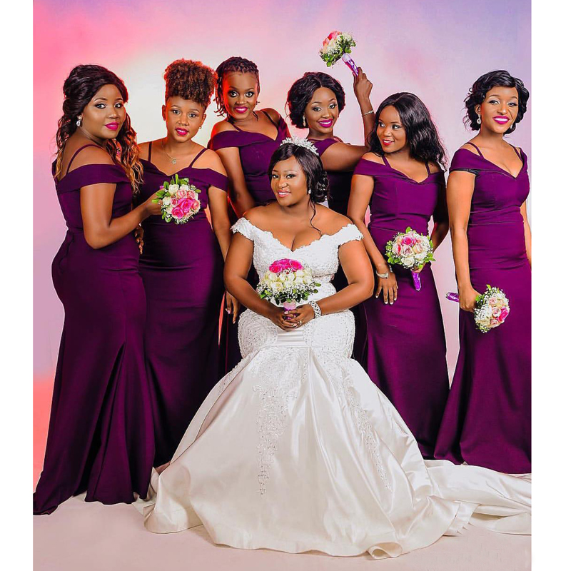 Elegant Purple Satin   Bridesmaid     Dresses   For Wedding Party Long 2018 African Plus Size Off Shoulder Mermaid Maid Of Honor Gowns