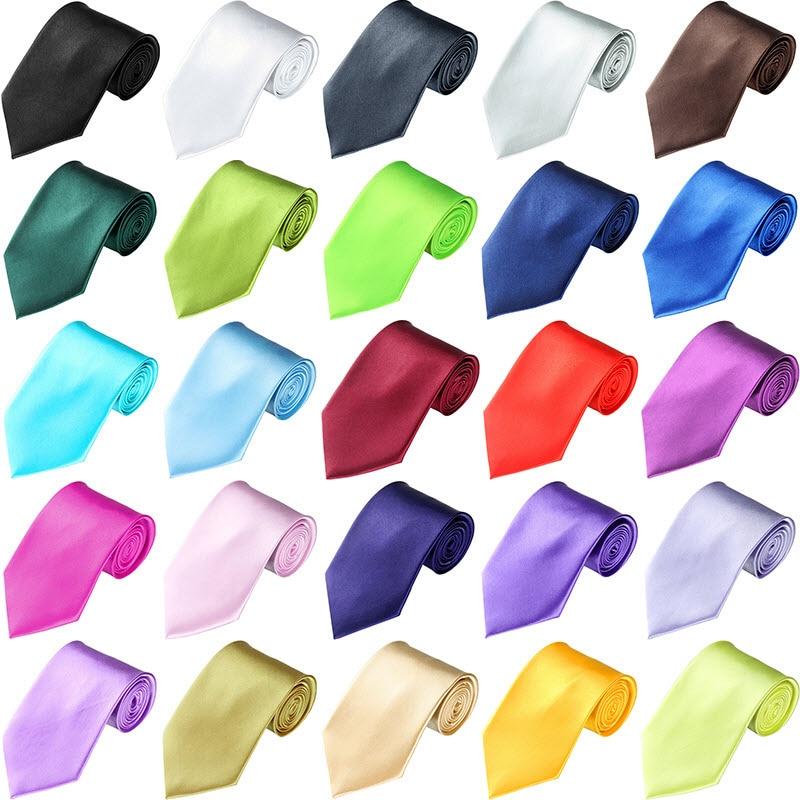 10 Cm Breite Herren Krawatten Frauen Plain Krawatten Party Hochzeit Smoking Anzug Shiny Krawatte Krawatte 26 Farben Neueste Technik