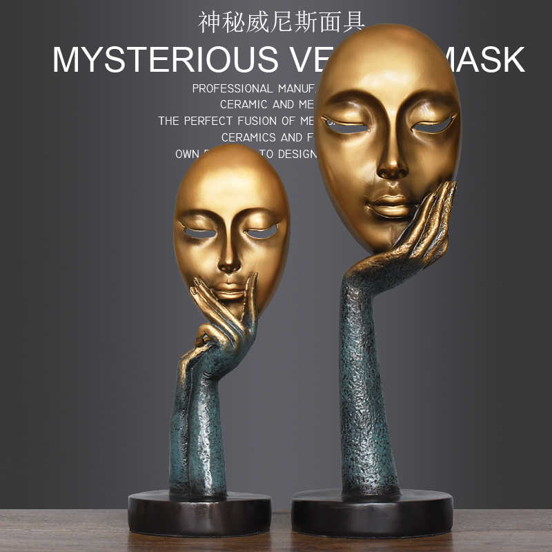Creative Home Decorations resin Abstract Home Furnishing Modern Minimalist Personality Mask Display Ornament ,desk decoration