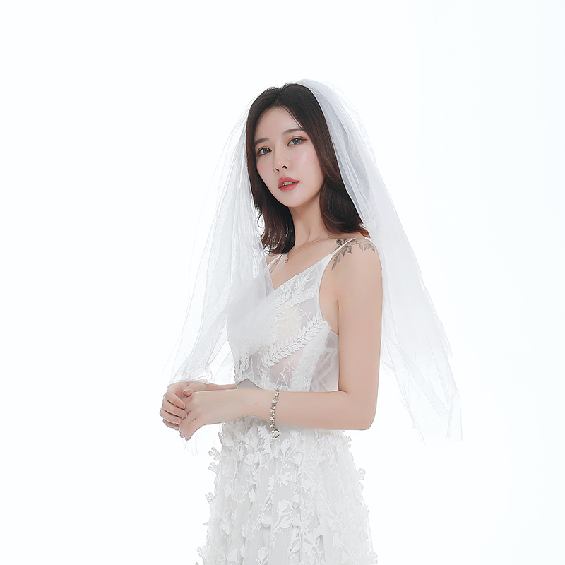 In Stock Two Layer Cheap Simple Elbow Length Short Wedding Veils Adult Womens Bridal Veil Ivory Accesorios Boda 2019 New Arrival