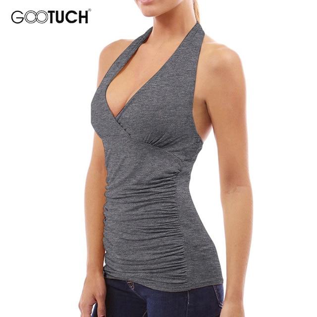 b9c316bc492 Summer Womens Sexy Deep V Neck Halter Top Sleeveless Shirt Backless Vest  Bodycon Beachwear Tops Women's Cotton Tank Tops 7283