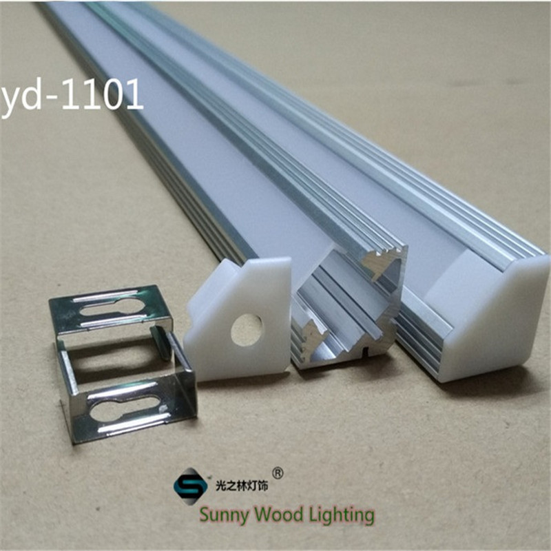 5-30pcs/lot corner led channel cable hidden , led aluminium profile for 11mm PCB board  led bar light,45 degree strip housing 10 40pcs lot 80 inch 2m 90 degree corner aluminum profile for led hard strip milky transparent cover for 12mm pcb led bar light