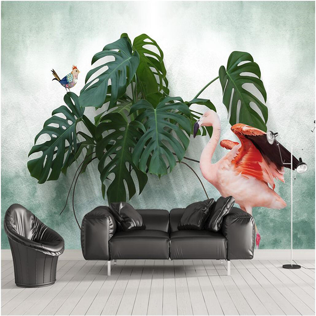 Beibehang Custom Fresco Wallpaper Any Size Scandinavian Small Fresh Turtle Back Flamingo Background Wall Murals