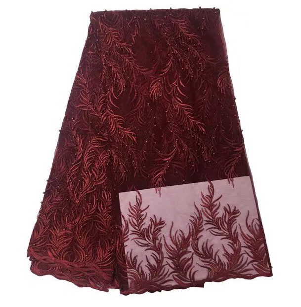 Red wine High Quality Nigerian Lace Fabrics 2018 With bead African French Net Lace Fabric Embroidered Tulle Mesh LaceRed wine High Quality Nigerian Lace Fabrics 2018 With bead African French Net Lace Fabric Embroidered Tulle Mesh Lace