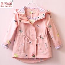 цена на 2019 New Spring Autumn Girls Windbreaker Coat Baby Kids Flower Embroidery Hooded Outwear Clothes Baby Kids Coats Jacket Clothing