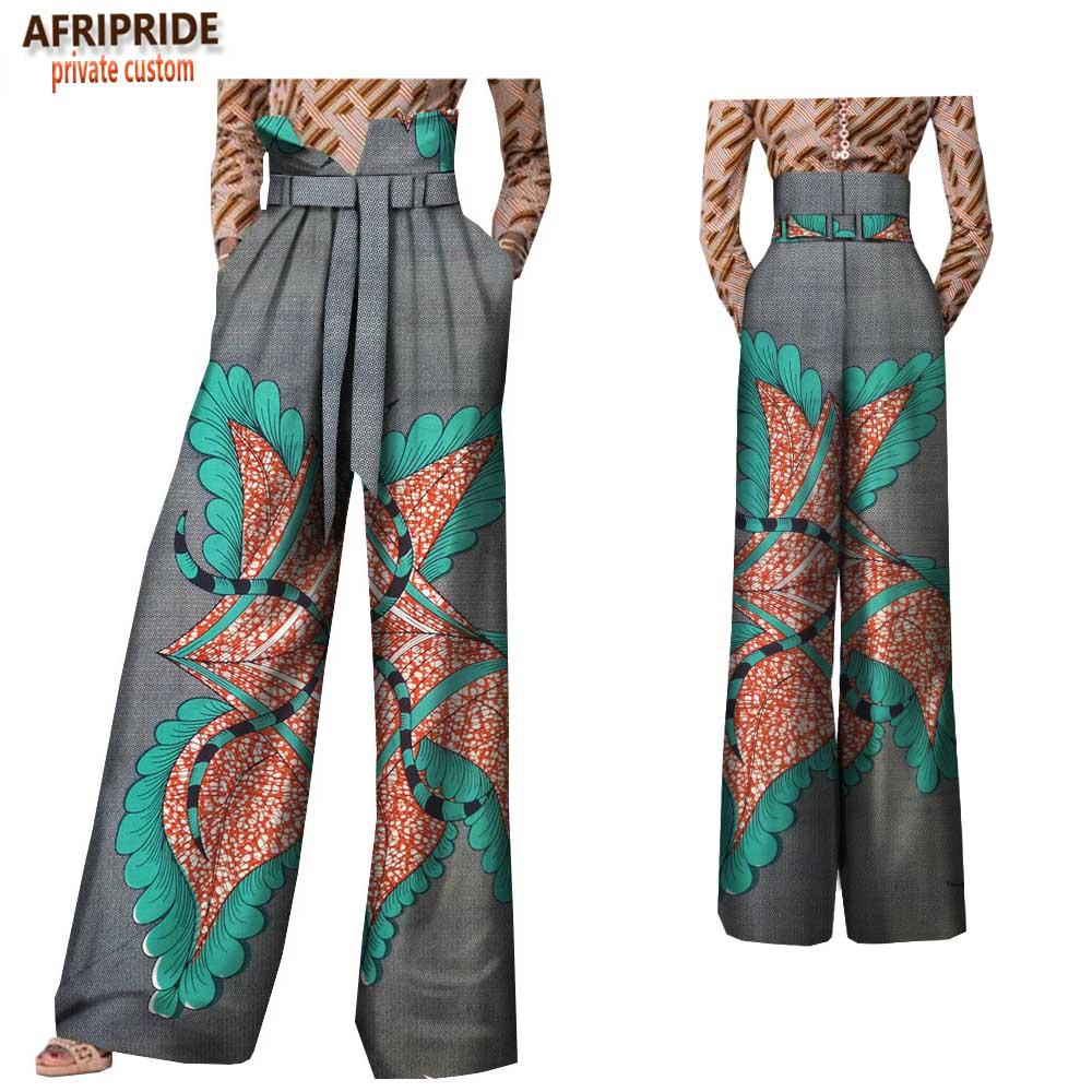 2019 Spring Casual Wide Leg Pants For Women Afripride Customzied High Waist Full Length Back Zipper Pants With Sashes A1821002