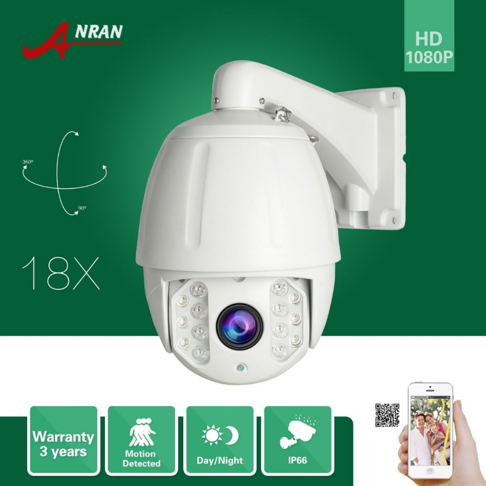 ANRAN Onvif HD 1080P High Speed Dome PTZ 18X Zoom IP66 Waterproof Dome Outdoor Home Security CCTV IP Camera 4.7-84.6mm Lens