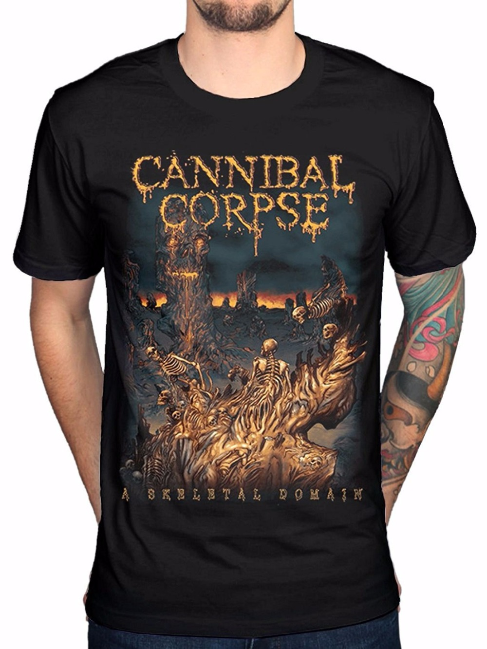 Company T Shirts Mens Cannibal Corpse A Skeletal Domain Mens Black Cotton Top T-Shirt Tee O-Neck Short Sleeve Fashion T Shirts