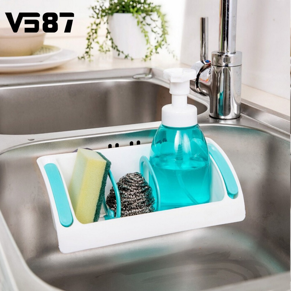 Multifunction Kitchen Suction Cup Storage Shelf Bathroom Plastic ...