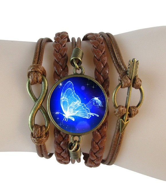 Glowing butterfly bracelets bangles braided multilayer leather bracelet blue galaxy bangle jewelry for gifts glass dome pendant