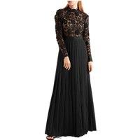 2018 Self Portrait dress Women Runway Crochet Lace Casual Long Dress patchwork Chiffon Pleated Vintage Maxi Dresses Vestido