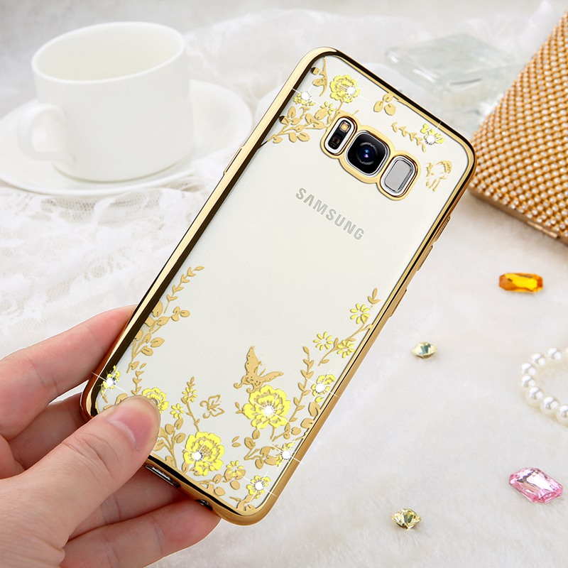 KISSCASE Luxury Bling Diamond Plating Floral Cover Cases For Samsung S8 S8 Plus Cases Soft TPU Coque For Galaxy Note 8 S7 S6