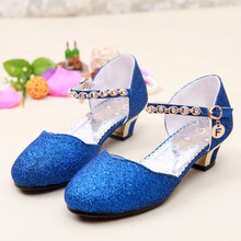 2017 Fashion Children Shoes Girls Sandals, Wedges Wedding Princess Shoes Rhinestone Dance Shoes, PU Leather Girls Party