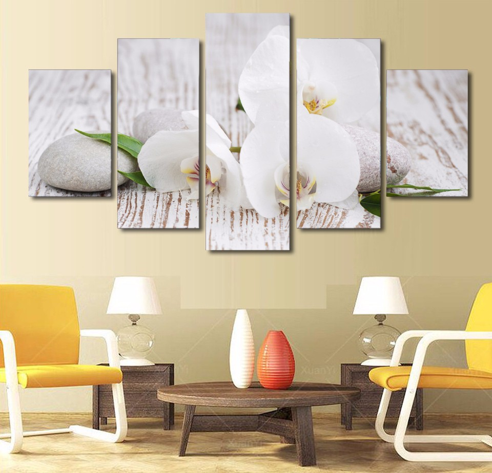 5 pieces canvas prints white orchid pebbles zen buddha painting wall art home decor panels. Black Bedroom Furniture Sets. Home Design Ideas