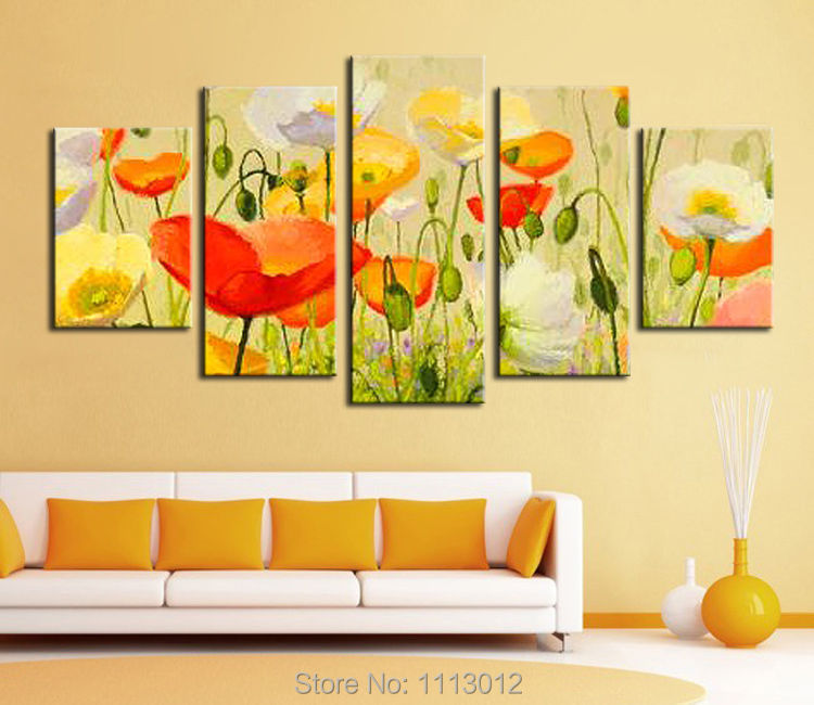 100% Hand Painted 5P Red Abstract Flower Oil Painting On Canvas Home Wall Art Set Decoration Modern Picture For Living Room Sale