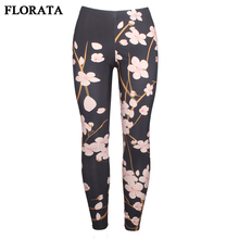 FLORATA New Women Floral Printing Leggings Elegant Sexy Elasticity Leggins High Waist Legins Casual Trouser Sliming Pants 7Sizes