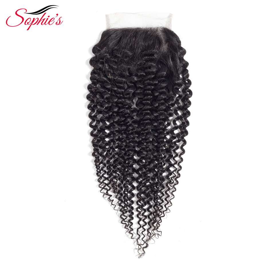 Sophie's Hair Peruvian Human Hair 4*4 Lace Closure Kinky Curly Closure Remy Hair Natural Color Free Part Closure Hair Extensions