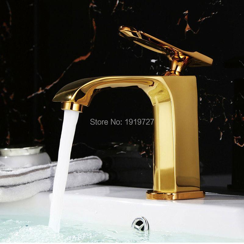 New Wholesale Newly 100% Brass Modern Style Design Gold Or Chrome Or Black Single Handle Single Hole Bathroom Vessel Faucet цены