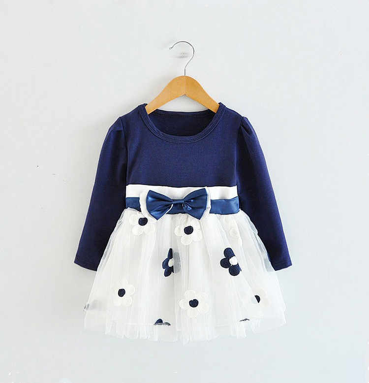 2016 New Winter Girls Clothes Long Sleeve Pirncess Dress Kids Wedding Party Dresses For 0-2 Years Flowers Prints Baby Clothing