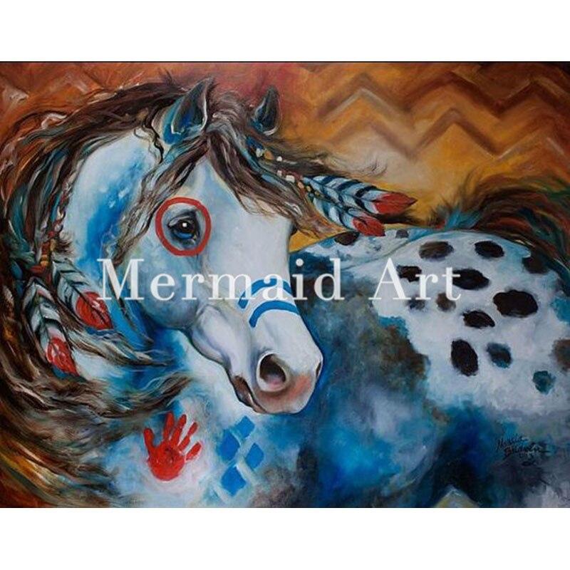 Peint à la main abstraite indien guerre cheval peinture à l'huile toile décoration murale maison mur salon œuvre Fine Art