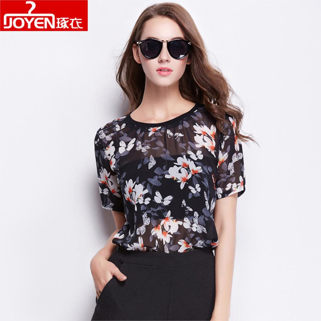 Women Short Sleeve Chiffon Blouse Shirt 2017 printing Woman Fashion Clothes Casual Blouses Ladies Top Blusas Camisas Femininas