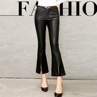 2017 Women Leather Flare Pants Fashion Sexy Solid Ankle length Pants New Buttocks Trousers For Women Female Pants Black M 3XL