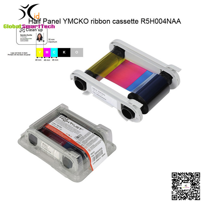 купить Original Evolis R5H004NAA Half Panel YMCKO ribbon cassette 400 prints for Zenius Primacy id card printer дешево