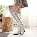 Outono mulheres botas de qualidade superior 2017 moda de prata de ouro das mulheres na altura do joelho botas de cano alto femme preto das senhoras longas botas tamanho grande 34-45