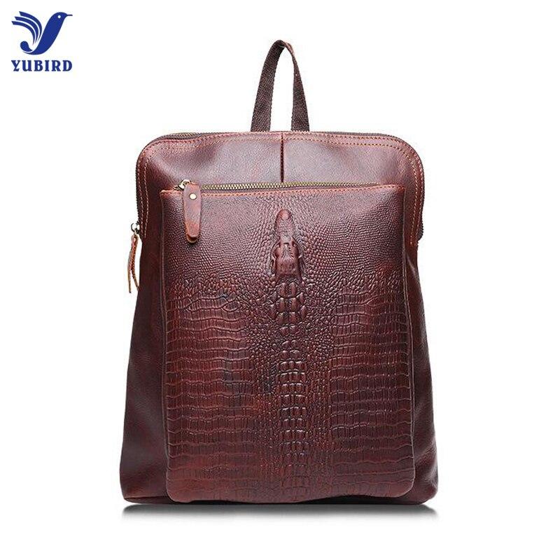 ФОТО Vintage Backpacks Male Luxury Brand Designer Genuine Leather Men Backpack Crocodile Pattern Cowhide Travel Bag Business Bag