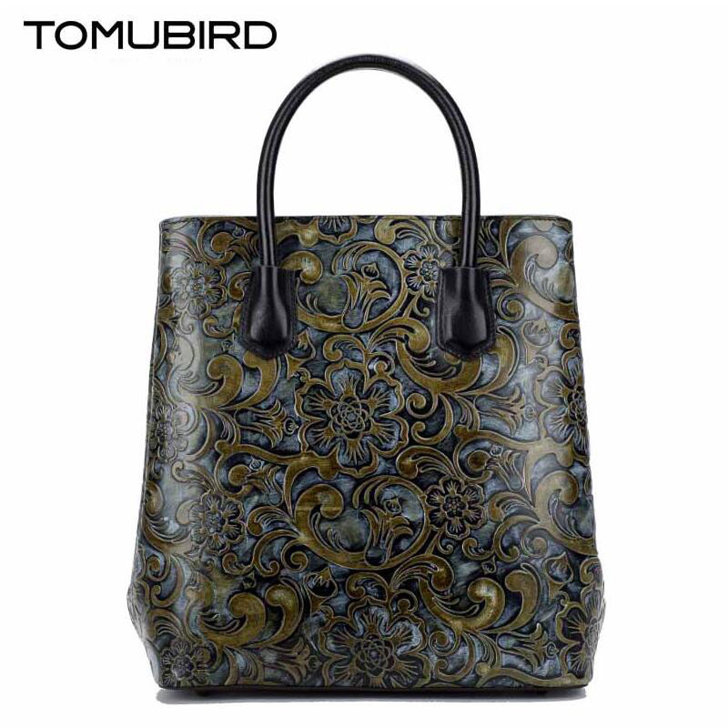 TOMUBIRD 2019 new superior cowhide leather Painting leather embossed women Leather Handbags Tote Genuine leather shoulder bag