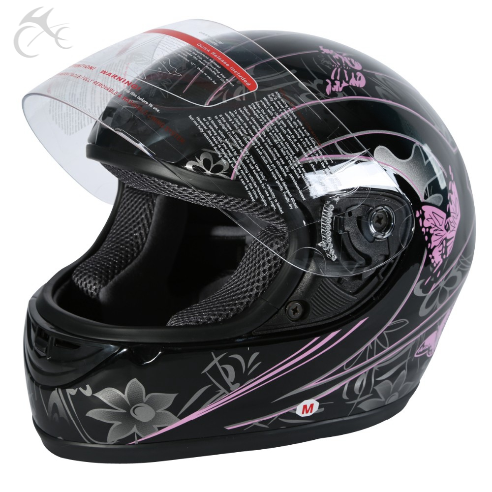 DOT ADULT Pink Black Butterfly Motorcycle Street Full Face Helmet Size S M L XL XXL s m s l m6 15118335 усилитель для наушников black