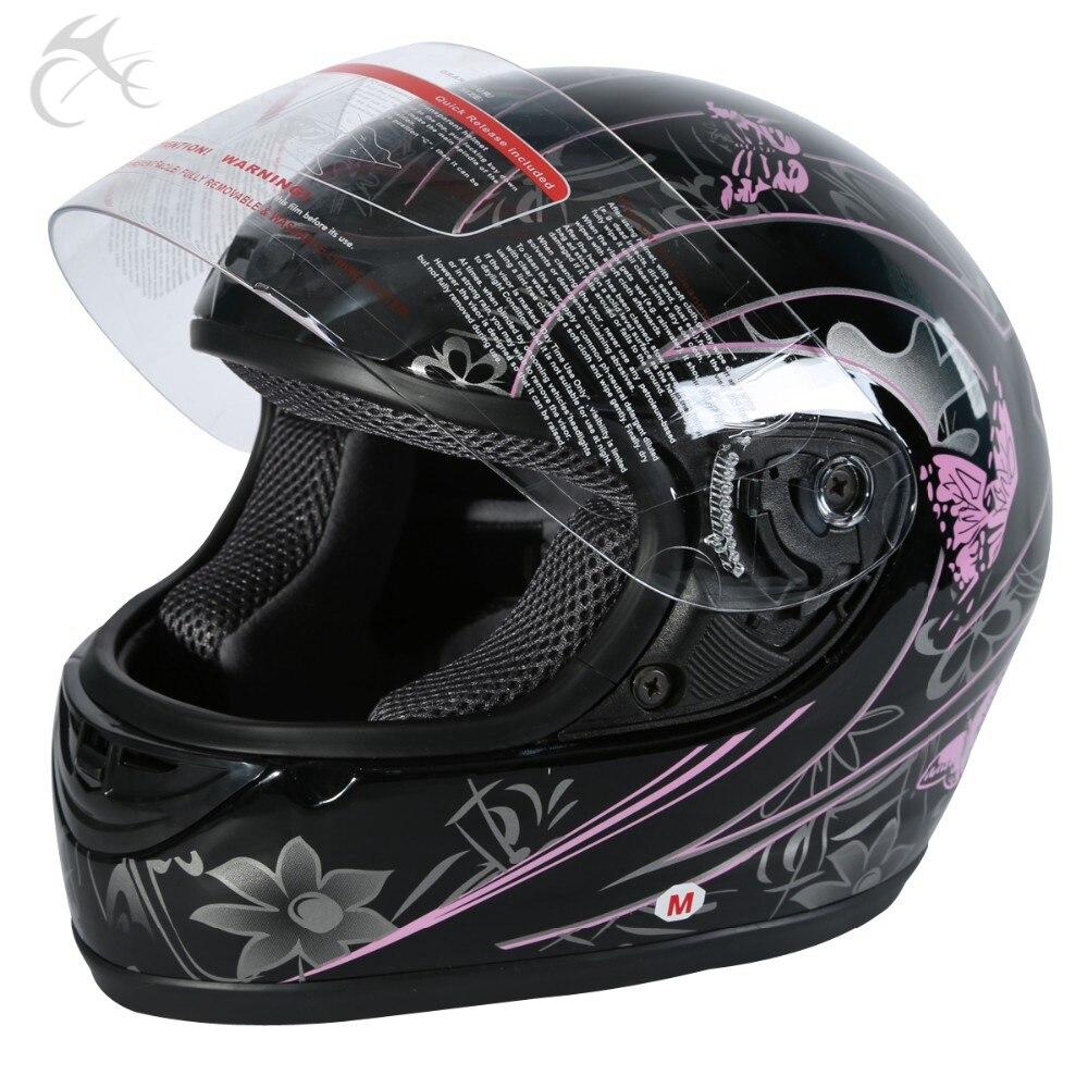 DOT adulte rose noir papillon moto rue intégral casque taille S M L XL XXL