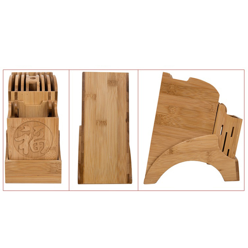 Creative Kitchen Wood Knife Holder For Chopsticks Fork Scissors Storage Box Bamboo Knife Block Stand Cooking Tool 5