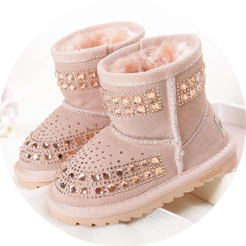 2017 Winter new children snow boots reihnstone kids genuine leather boots warm shoes with fur princess