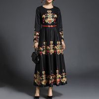 Sisjuly Long Sleeve Women Maxi Dress Vintage High Waist Floral Round Neck Dress Black Celebrity Inspired Long Party Dresses Hot