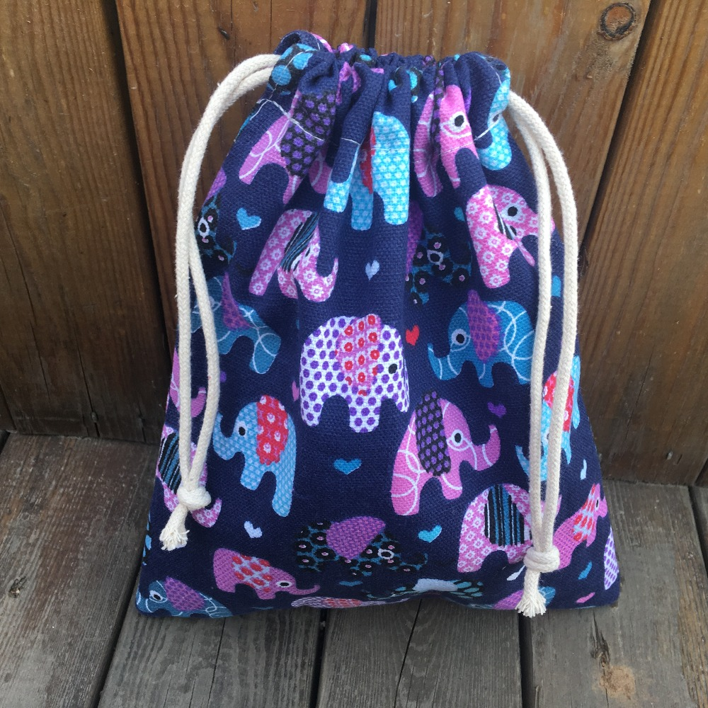 Cotton Canvas Drawstring Organized Pouch Party Gift Bag Color Elephant YILE9318d