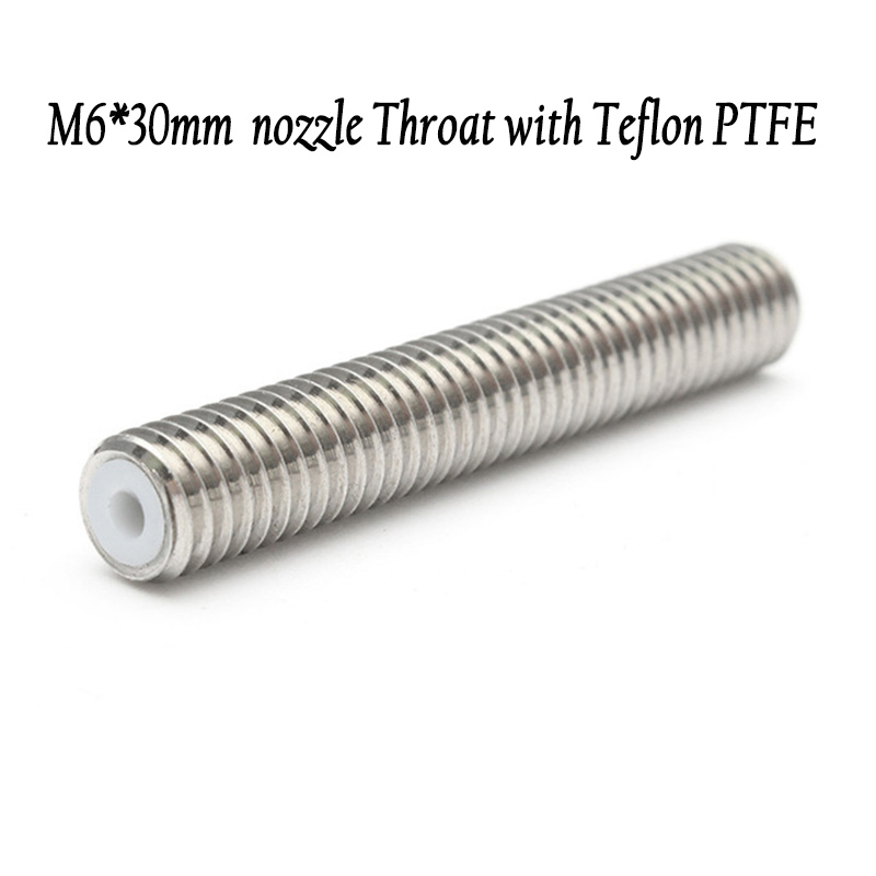 5pcs M6*30mm/40mm Throat A8 A6 E10 MK8 Extruder Nozzle Heatbreak Teflon Pipe PTFE For 1.75mm Prusa 3D Printer Parts Accessories