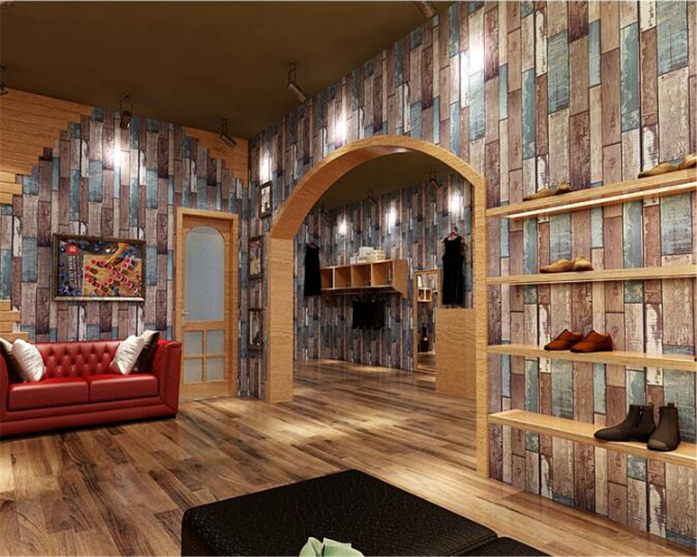 beibehang  Personalized industrial wind retro nostalgic imitation wood board wallpaper restaurant clothing store 3d wallpaper personalized clothing store track lamp